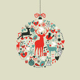 Fototapety Christmas icons in bauble shape