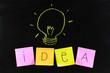 close up of a light bulb drawing on blackboard