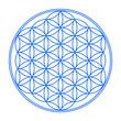 Blume des Lebens Symbol Blau Weiß 1