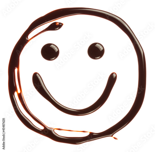 Smiley face made of chocolate syrup