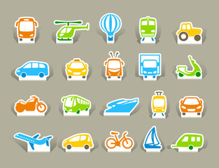 Transportation Icons on stickers