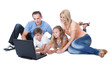 Happy Family With Two Children Using Laptop