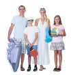 Happy Family With Two Children Ready For Vacation