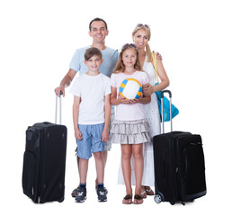 Happy Family With Luggage Going For Vacation