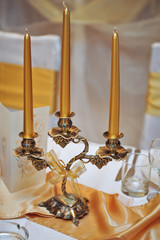 candlestick with candles  on wedding