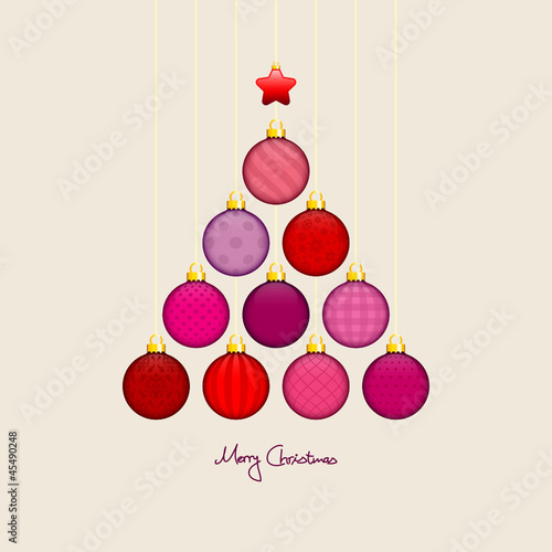 Christmas Tree Hanging Balls Pattern Red/Beige Gold