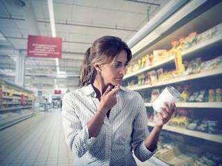 Girl unsure at supermarket