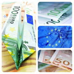 euro bills collage