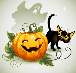 Black cat Halloween pumpkin ghost.