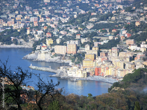 Aerial view of Camogli, fishing village on Italian Riviera