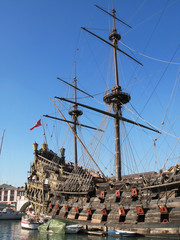 Old Spanish galleon in the port of Genoa, Italy