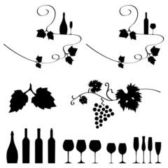Wein Weinreben Weinflaschen Weingläser
