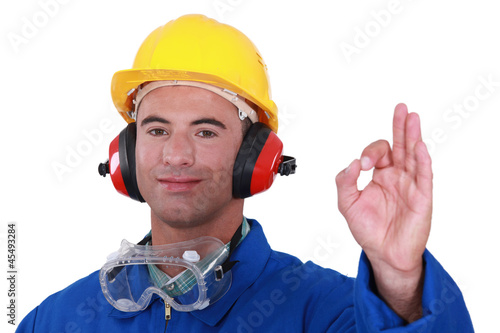 Tradesman giving the a-ok sign