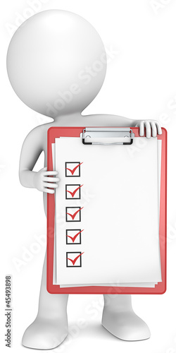 Check list. 3D little human character holding a red clipboard.