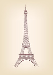 Eiffel tower drawing vintage vector illustration  isolated