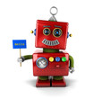 Happy vintage robot with hello sign