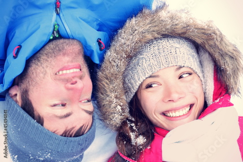 Joyful Asian / Caucasian couple