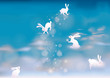 Bunnies make snowflakes on the sky / Fairy heaven with rabbits