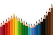 Chancen und Risiken mit Farbstiften vor weißem Hintergrund