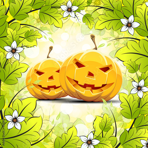 Halloween Pumpkins with Leaves