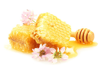 golden honeycombs, wildflowers and wooden drizzler with honey