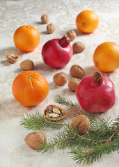 Oranges, pomegranates and walnuts