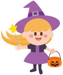 ハロウィン いたずら 魔女 女の子 イラスト