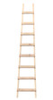 Wooden ladder vertical isolated stepladder closeup