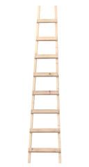 Wooden ladder vertical isolated stepladder closeup