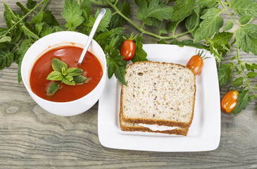Garden Fresh Tomato Soup and Tuna Fish Sandwich