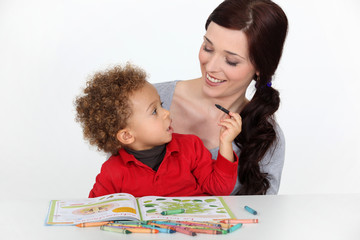 Mother and toddler coloring