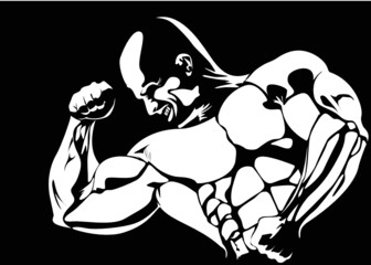 contour of the athlete on the black background. vector