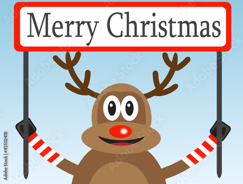 Christmas deer with a congratulatory poster