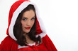 Woman wearing a Santa costume