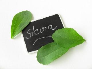 Steviablätter und Tafel