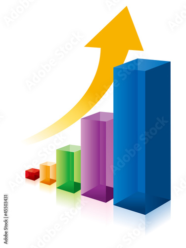 business graph colorfull 3d