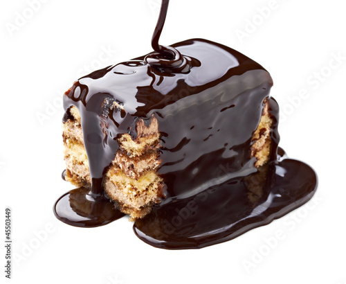 chocolate syrup and  cake sweet dessert food
