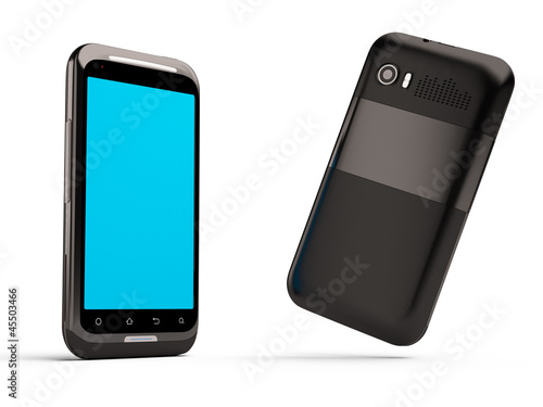 3D model of the smartphone isolated on the white