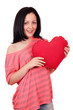 teenage girl holding big red heart