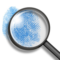 fingerprint through magnifying glass