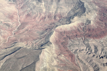 Aerial view on mountains from an airplane