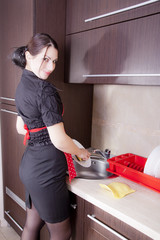 Housewife doing dishes