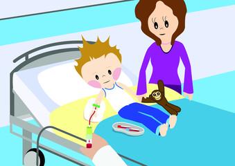 Nurse taking blood from child