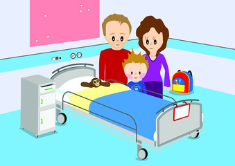 Child and parents standing by hospital bed