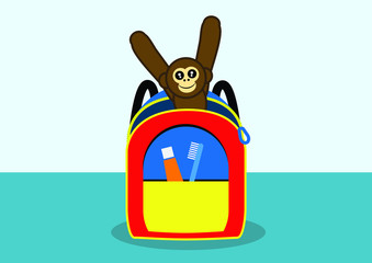 Child's backpack with toy monkey