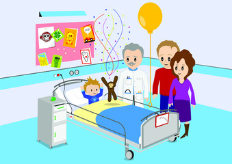 Child getting good news from doctor in hospital