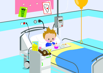 Child eating a meal in hospital bed