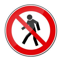 Verbotsschild BGV A8 - Für Fußgänger verboten