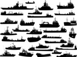 Set of 31 (thirty one) silhouettes of sea ships