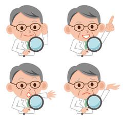 虫眼鏡 医者 表情 セット